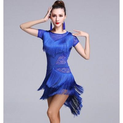 6562a0a57a Sexy lace Royal blue fuchsia black mint Latin Dance Dress Women Girls Salsa  Samba Tango Ballroom