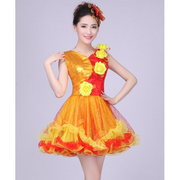 Sexy Women Dance Wear red yellow patchwork Modern Dance Costume Jazz Dance  DS Stage Performance dresses