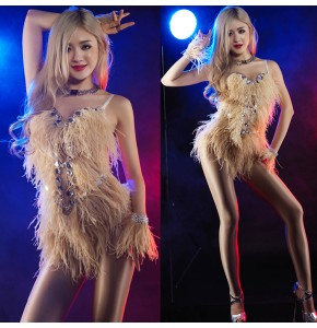 Sexy Women girl's ostrich feather fluffy  Stage Outfit Clothes Female Singer Star Costume Jazz Dance Stage Costumes For Singers bodysuits