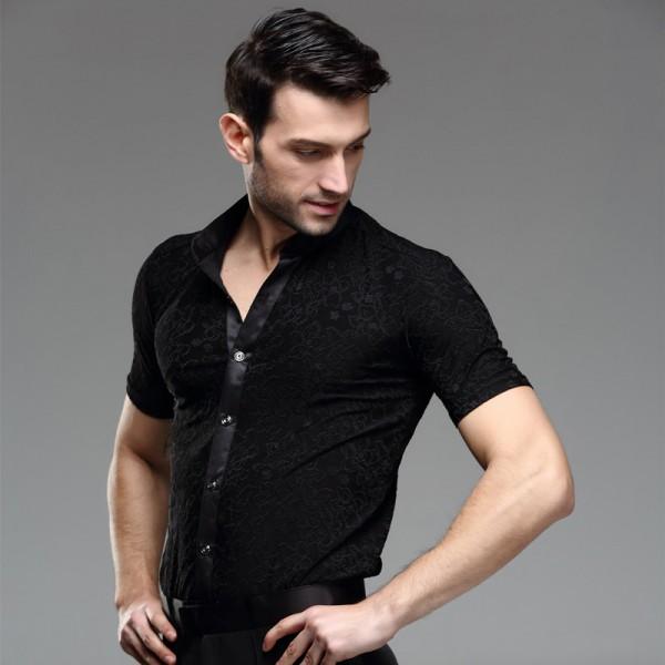 Short sleeves Competition Performance Ballroom Modern Salsa Tango Samba Menu0026#39;s Latin Dance ...