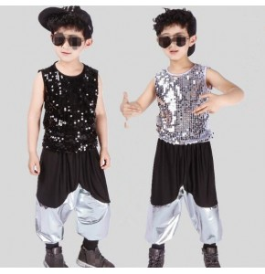Silver black sequined leather boy's kids children modern dance hip hop jazz dancers drummer performance costumes outfits