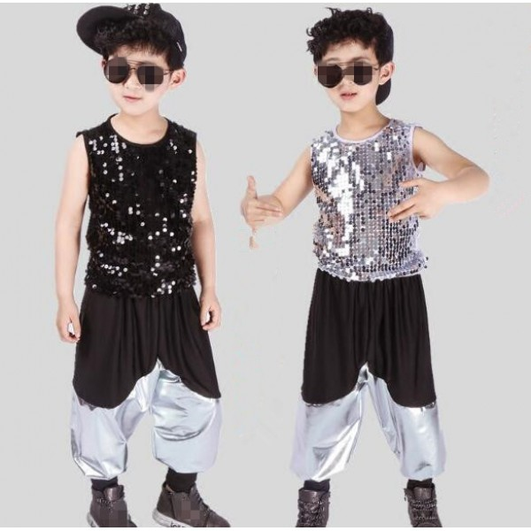 Silver black sequined leather boyu0027s kids children modern dance hip hop jazz dancers drummer performance costumes & Silver black sequined leather boy\u0027s kids children modern dance hip ...