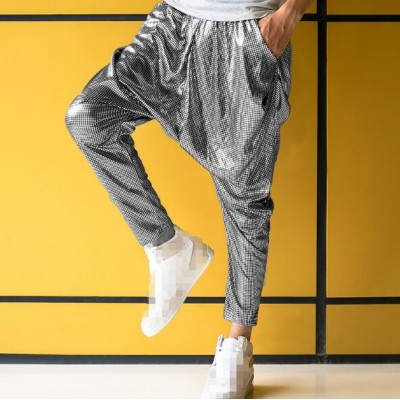 Silver black white men's pants DS costume jazz dance street dance pants Hip hop and performance stage dance haroun pants