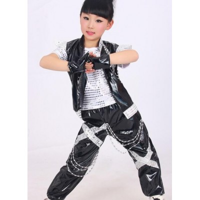 Silver gold girls Boy's Jazz Dance Costume  New Kids Sequin Top  Harem Pants Sets Fashion modern Children Hip Hop Clothing outfits