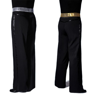 Silver gold sequined paillette waistline men's male competition party show model singers cosplay performance latin ballroom dance pants