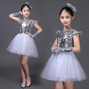 Silver kids jazz dance dress sequined modern dance princess chorus school competition stage performance outfits costumes