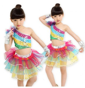 silver rainbow children jazz dance dress kids girl modern dance costume sequins princess tutu dresses