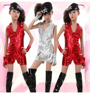 Silver red glitter girl's fashion performance jazz singers dancers model show play hip hop  dance costumes outfits