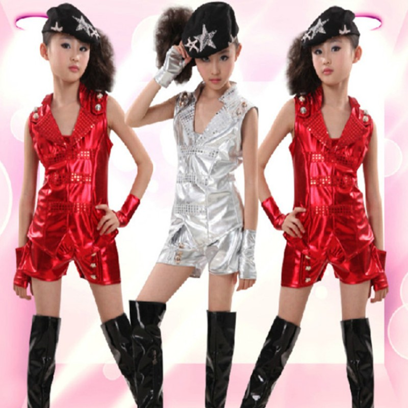 Silver Red Glitter Girl S Fashion Performance Jazz Singers Dancers Model Show Play Hip Hop Dance Costumes Outfits Material Patent Leathercontent Only Top And Sh