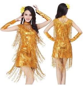 Silver red gold fringes paillette tassels girls women latin salsa dance dresses outfits costumes