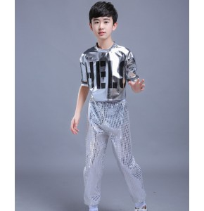 Street dance outfits for boys kids children blue black silver stage performance hiphop modern dance cheerleader dancing costumes