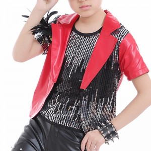 Street dance outfits for kids boys children red stage performance jazz hiphop drummer dancing coat and sequined vests