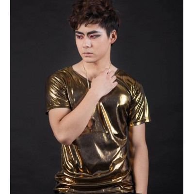 Summer Men dance glitter Top Dot ds clothes performance wear Gold Silver brand clothing hip hop Short sleeve T shirt