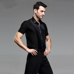 Trendy Stage Performance Velvet striped Shirt short Sleeve Ballroom Dance Costumes Men Shirt Latin Modern Dance Clothing