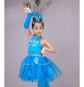 Turquoise Children Girls Chinese Costumes Kids Halter Peacock Dance Ethnic chinese folk Costumes Stage Dancewear dresses