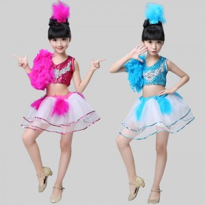 Turquoise fuchsia  Girl Sequin Tutu Dress Tap Jazz Dance Costume Children Stage Wear Outfits costumes