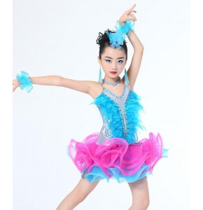 Turquoise fuchsia hot pink patchwork sequins  feather girls tutu skirt ballet ballroom latin dance dresses costumes