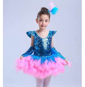 Turquoise pink Sweet Girl Sequin Tutu ballet dance Dress Tap Jazz Dance Costume Children Stage Wear outifts