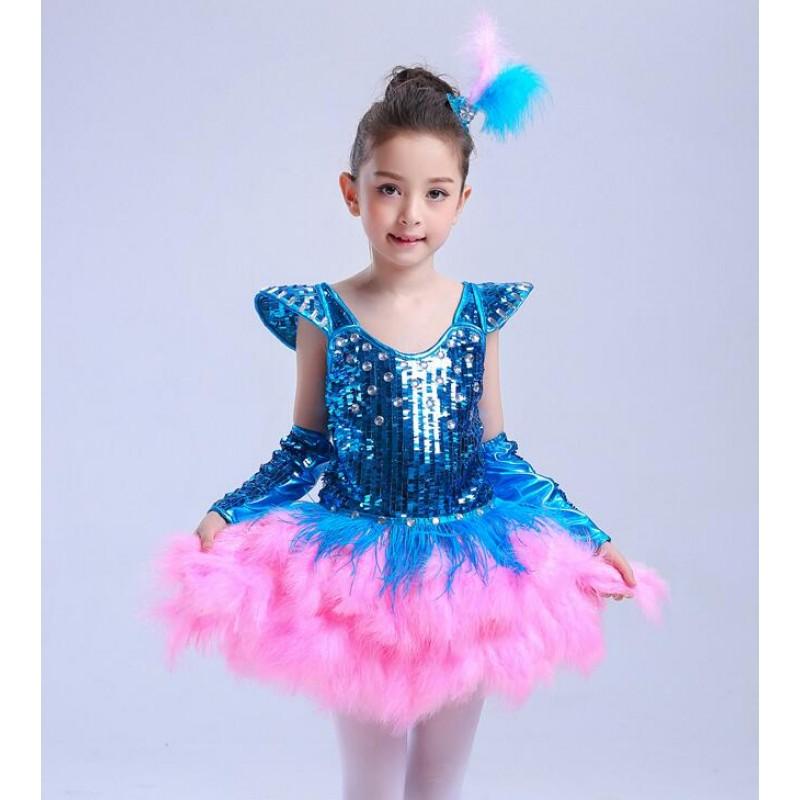 1b6b234c5d7e Turquoise pink Sweet Girl Sequin Tutu ballet dance Dress Tap Jazz ...