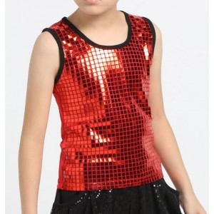 Turquoise red silver sequin hip hop dance costumes boy vest modern jazz dance costumes kids stage costumes for singers tops