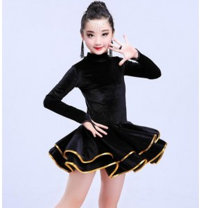 velvet Children latin dresses girl's kids children stage performance ballroom salsa chacha rumba latin dance dresses