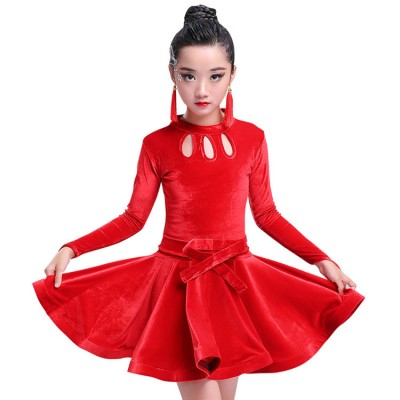 velvet Girls latin dresses royal blue red black long sleeves competition stage performance ballroom latin salsa dance dresses