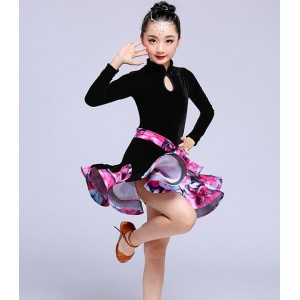Velvet Latin dresses Girl's kids children stage performance salsa cha cha rumba latin dance dresses costumes