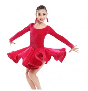 velvet orange light pink fuchsia Child Latin dance costume senior velvet long sleeves latin dance dress for child