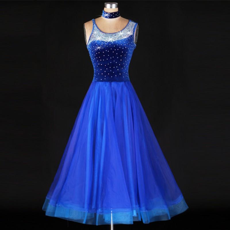 034357fbffa5 Velvet Standard stones Ballroom Dance Dresses royal blue hot pink Flamenco  Tango Waltz Dancing Costume Women