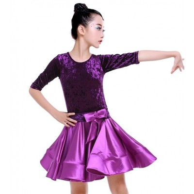 Violet green red velvet girls ballroom dresses competition stage performance children kids shiny satin latin dance dresses