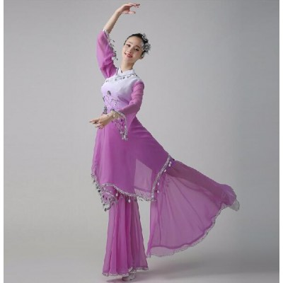Violet hot pink green gradient Chinese Cheap Discount Women Ladies Ancient Chinese National Costume Traditional Chinese Dance