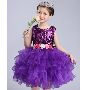 Violet purple pink white red yellow sequined school competition modern girl's kids children ballet jazz singers dance dresses costumes