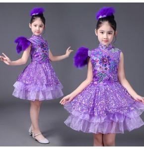Violet purple sequined feather modern dance girl's kids children singers jazz singers princess performance cosplay dancing dresses