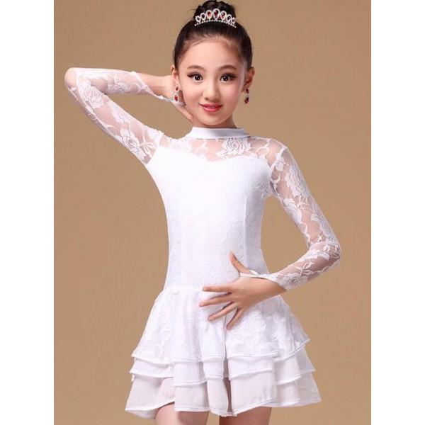 Girls white red black long sleeve ballroom lace rosel Latin dance one piece dress girl/children ...