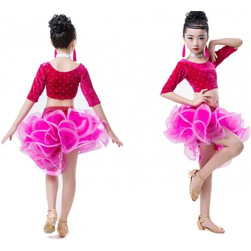 7259cdf68 buy popular c7550 5c6c0 royal blue pink child latin dance dresses ...