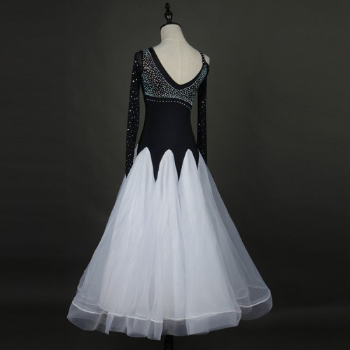 c36b695fa ... White and black patchwork stretchy long sleeves standard stones women  competition waltz smooth ballroom dance dresses