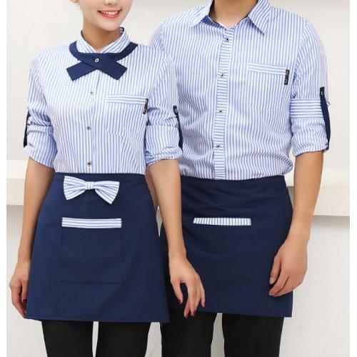 Blue Cafe Purple Striped Restaurant Waitress Uniforms Cafe Restaurant Uniform Long Sleeves Waiters Uniforms For Restaurant Men Hotel Uniforms