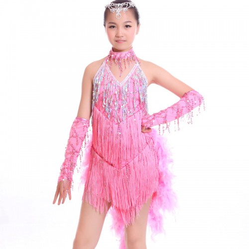 Feather latin dresses girl\\\'s kids children royal blue hot pink ...