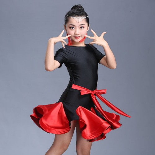 Girls latin dresses for kids children stage performance red dark green blue ballroom competition dance dresses outfits