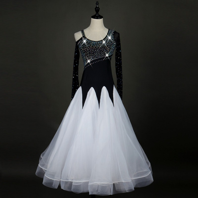 3ed29f7f022 White and black patchwork stretchy long sleeves standard stones women  competition waltz smooth ballroom dance dresses