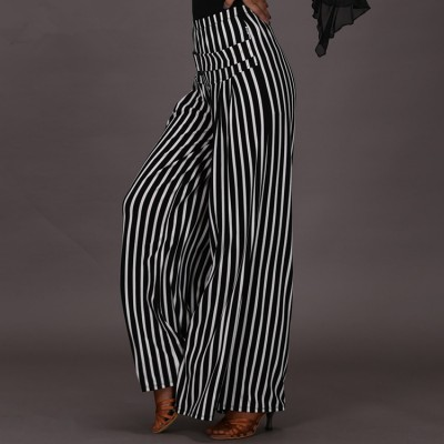 White and black striped wide leg long length women's female competition performance swing ballroom latin dance pants