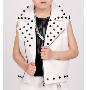 White Child leather rivet Dance Costume Kids Boys Jazz Dance hip hop Dancer Wear competition drummer performance waistcoats
