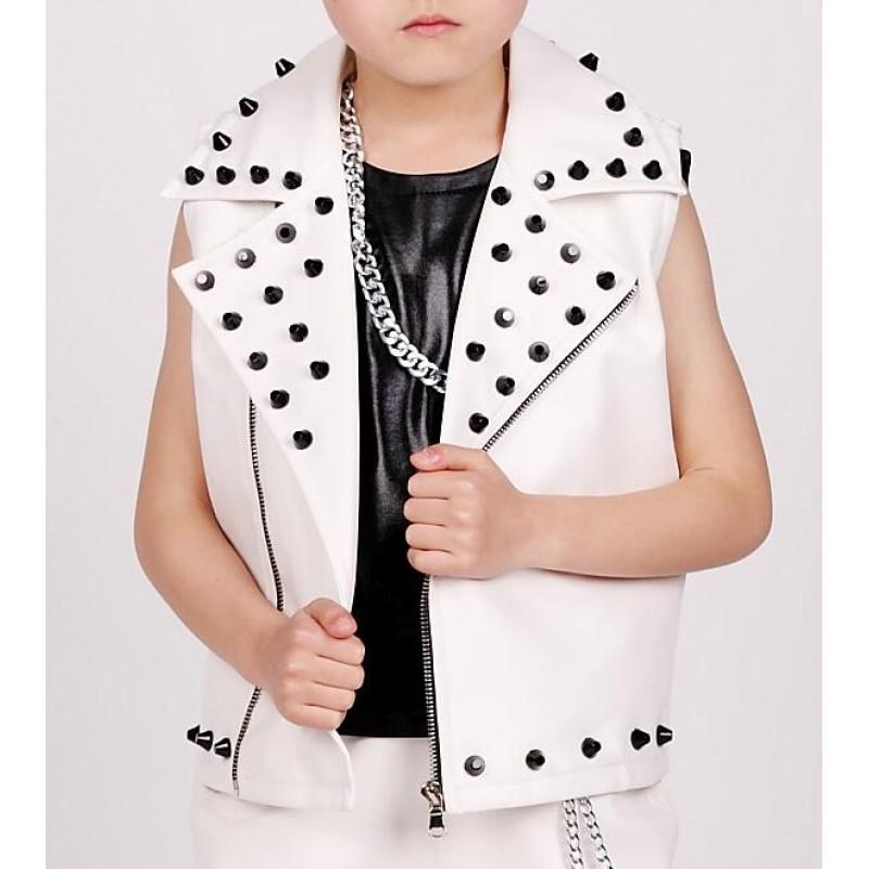 more photos 69175 3ce62 White Child leather rivet Dance Costume Kids Boys Jazz Dance hip hop Dancer  Wear competition drummer performance waistcoats
