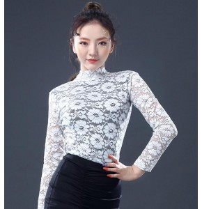 White flowers lace long sleeves fashion women's girl's female competition modern ballroom tango waltz latin dance tops