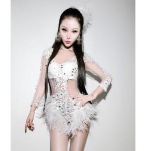White lace  see through sexy female singer leotard DS costumes DJ bar night club ultra long-sleeved bodysuit jazz dance dresses