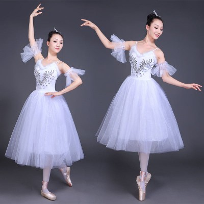 White modern dance ballet dress women female  turquoise pink competition performance swan lake ballet dance dresses