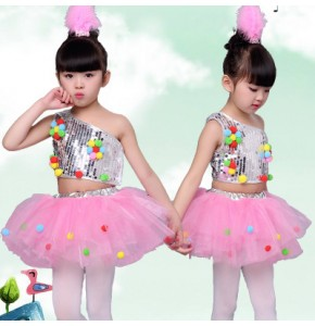 White pink children's dance stage costume for girls modern dance kids jazz dance costumes sequin clothes for singers contemporary dance costumes
