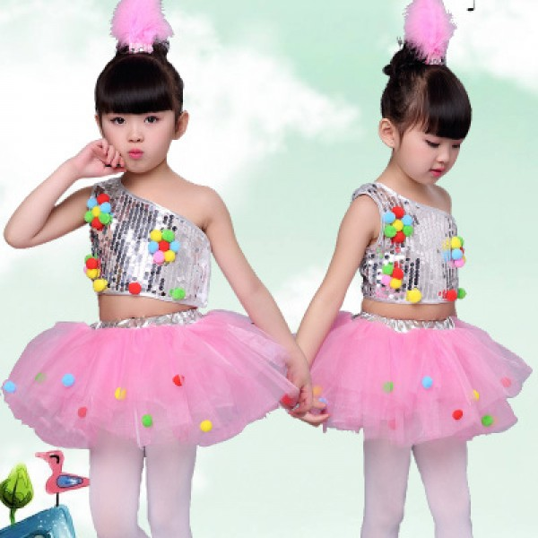46c755082 White Pink Childrenu0027s Dance Stage Costume For Girls Modern Dance Kids  Jazz Dance Costumes Sequin Clothes Sc 1 St Wholesaledancedress.com