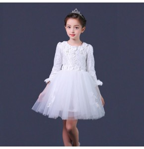 White pink flowers girls modern dance dresses host stage performance girl's kids children singers jazz dancing dresses costumes