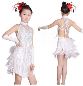 White sequined fringes latin dresses girls kids children stage performance competition ballroom salsa chacha rumba dance dresses